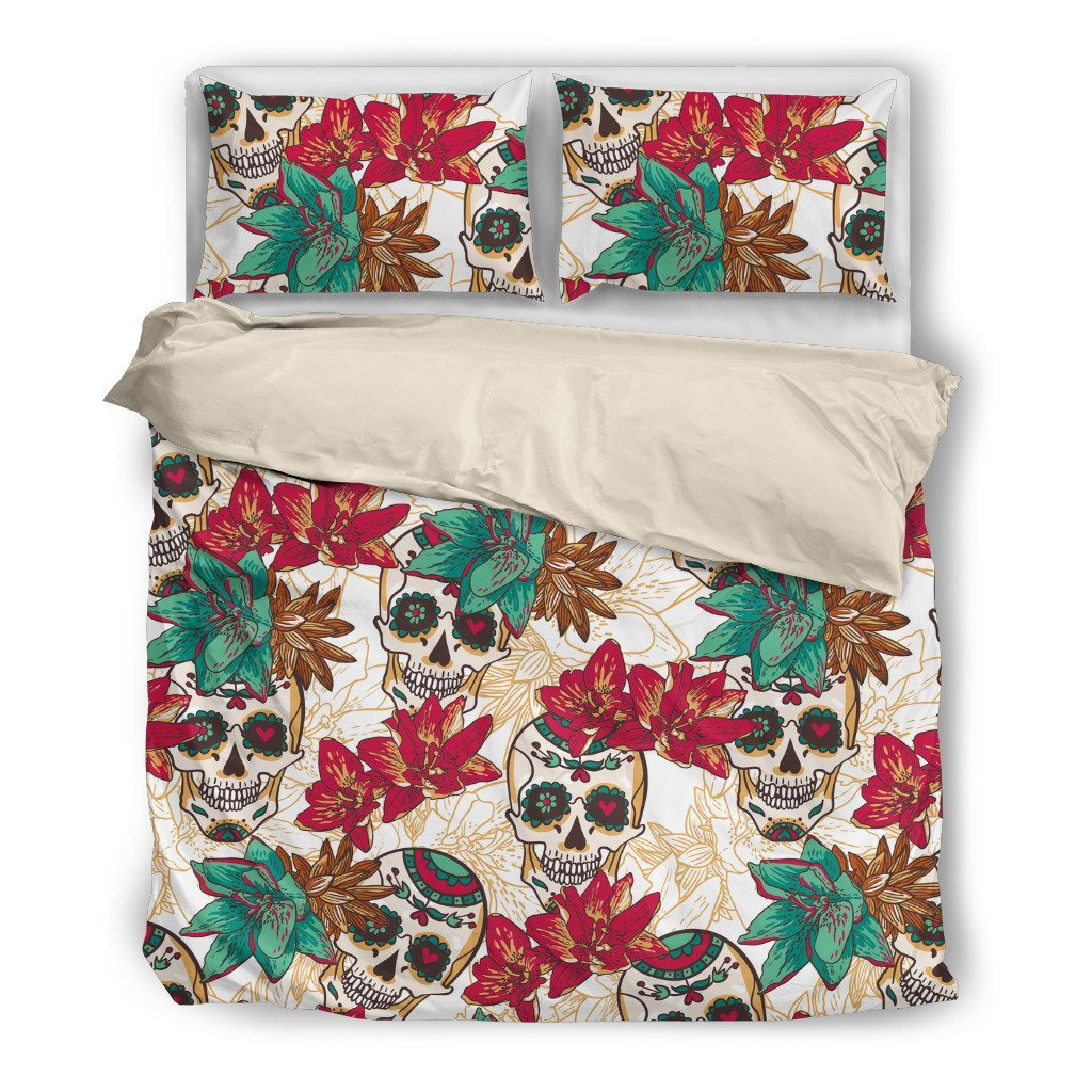 Skull Obsession Bedding Set - Beige - WHITE / Twin Skull & Flowers Bedding Set
