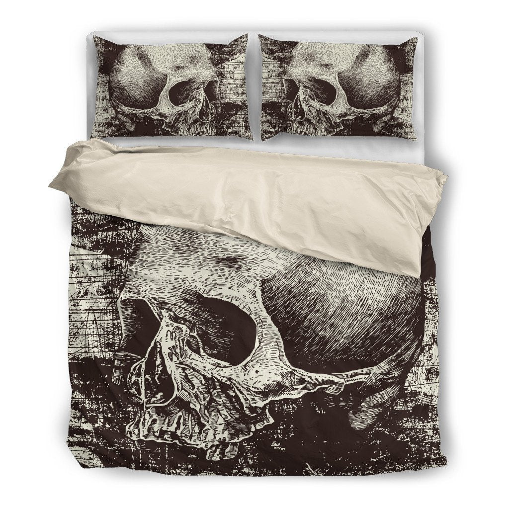 Skull Obsession Bedding Set - Beige - WHITE / Twin Skull & Grunge Bedding Set