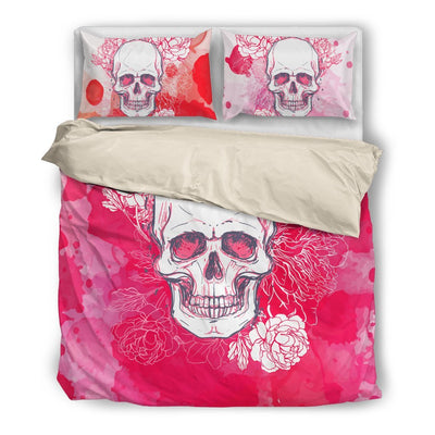 Skull Obsession Bedding Set - Beige - white / Twin White & Pink Skull Bedding Set