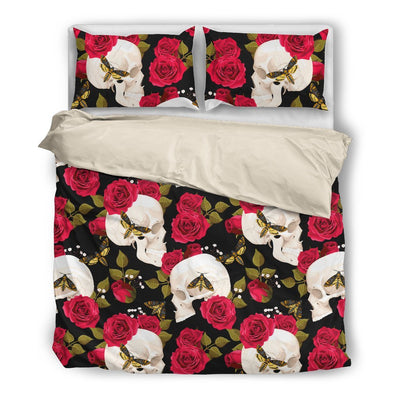 Skull Obsession Bedding Set - Beige - WHITE / Twin White Skull & Red Roses Bedding Set