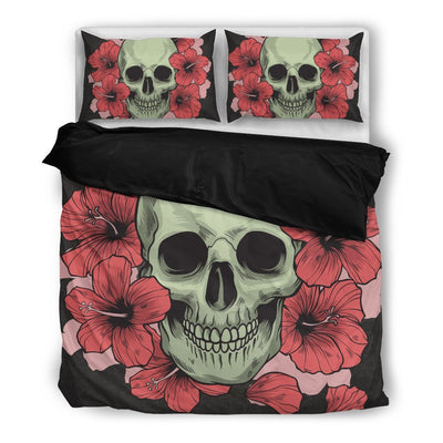 Skull Obsession Bedding Set - Beige - BE / Twin SKULL & ROSES DARK GRAY Bedding Set
