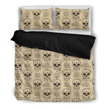 Skull Obsession Bedding Set - Black - BLACK / Twin BEIGE SKULL BEDDING SET