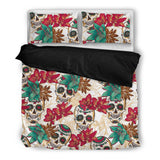 Skull Obsession Bedding Set - Black - BLACK / Twin Skull & Flowers Bedding Set