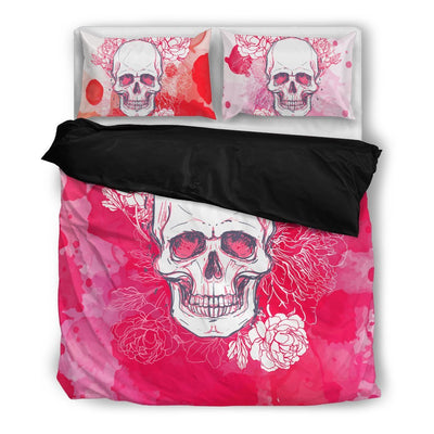 Skull Obsession Bedding Set - Black - black / Twin White & Pink Skull Bedding Set