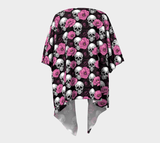 Skull Obsession Black & Pink Flowers Skull Draped Kimono