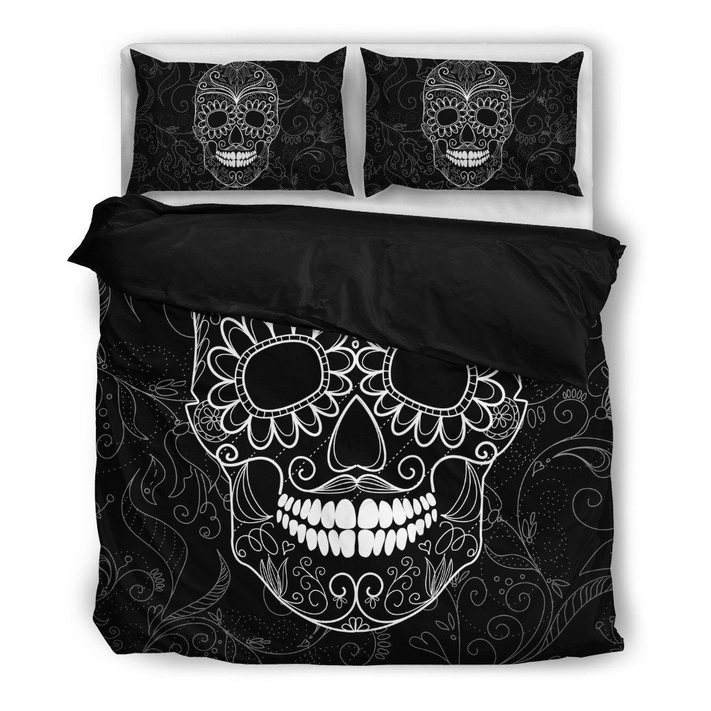 Skull Obsession Black & White Skull Bedding Set