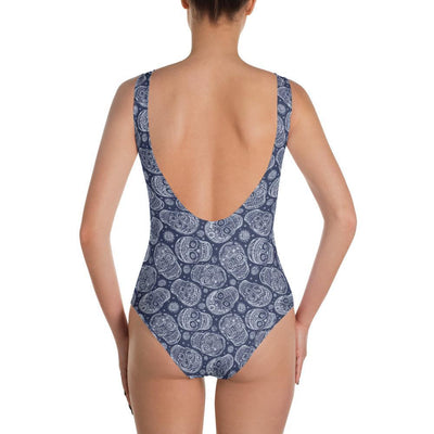 Skull Obsession Blue Skull One-Piece Swimsuit