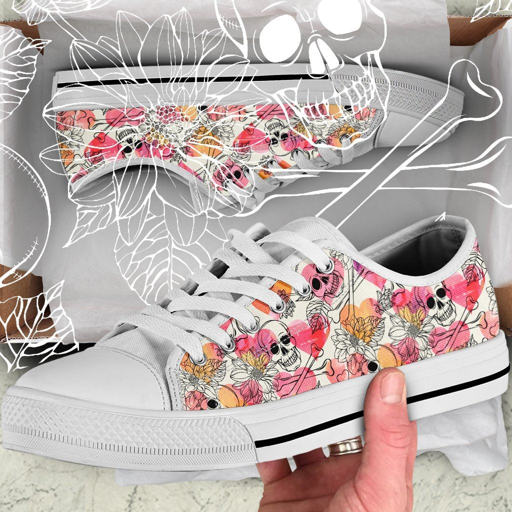 Skull Obsession Colorful Skull Women Low Top Shoes