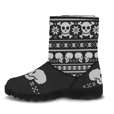 Skull Obsession Couple Skulls Faux Fur Boots