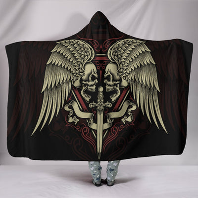 Skull Obsession Double Winged Skull Hooded Blanket