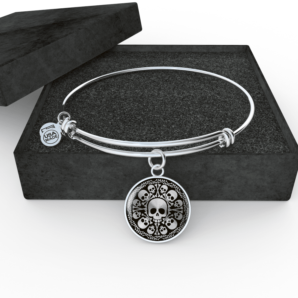 Skull Obsession Jewelry Luxury Bangle (Silver) SKULL & BONES LUXURY NECKLACE & BANGLE