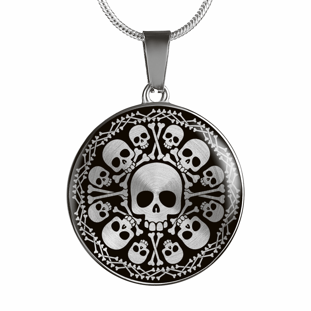 Skull Obsession Jewelry Luxury Necklace (Silver) SKULL & BONES LUXURY NECKLACE & BANGLE
