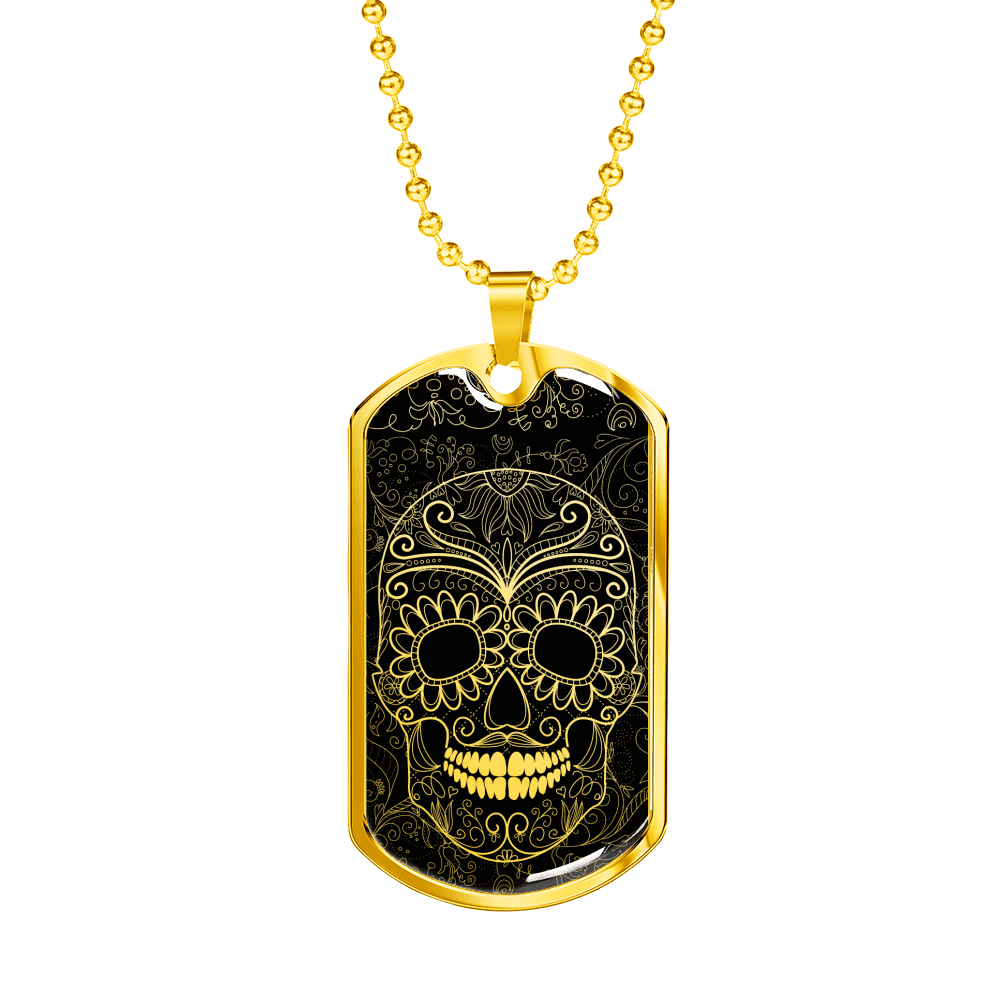 Skull Obsession Jewelry Military Chain (Gold) Vintage skull Military Ball Chain