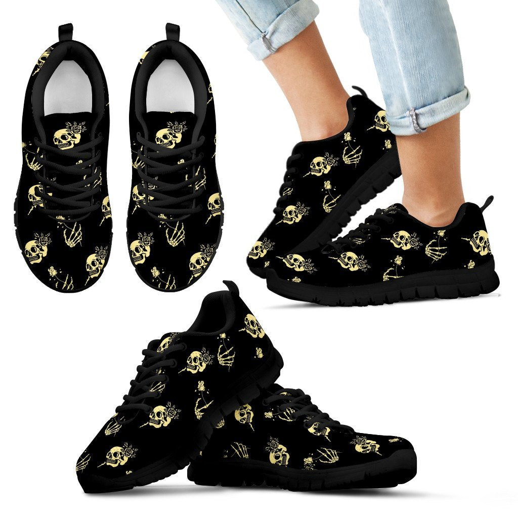 Skull Obsession Kid's Sneakers - Black - light yellow / 11 CHILD (EU28) SKELETON & ROSES SNEAKERS