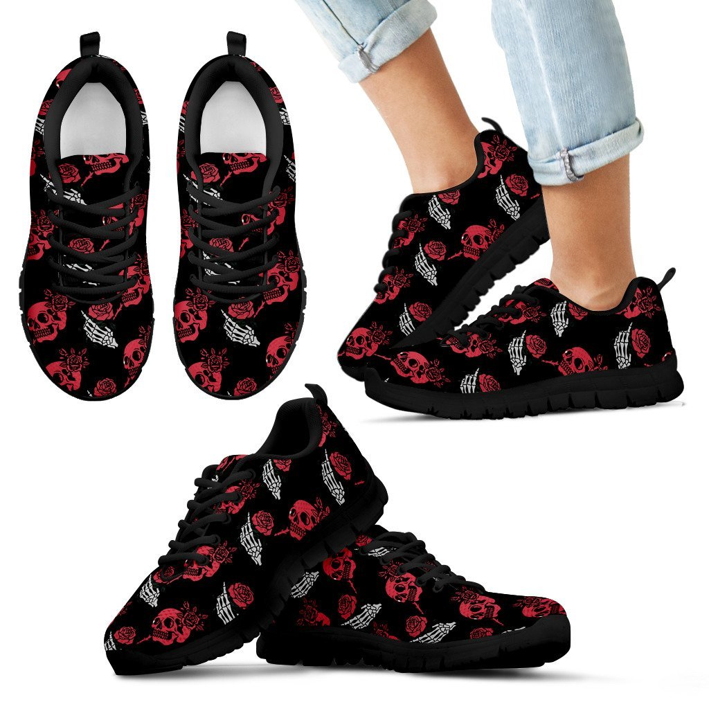 Skull Obsession Kid's Sneakers - Black - red & white / 11 CHILD (EU28) SKELETON & ROSES SNEAKERS