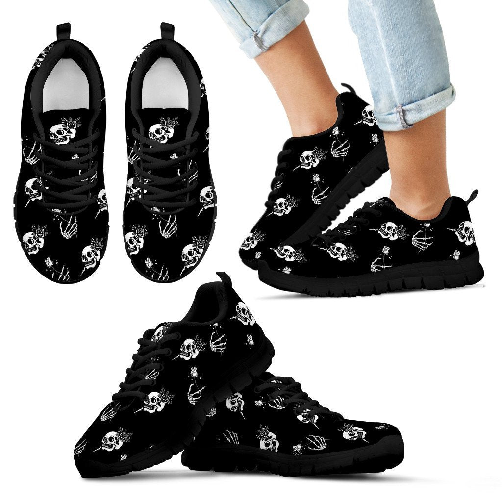 Skull Obsession Kid's Sneakers - Black - white / 11 CHILD (EU28) SKELETON & ROSES SNEAKERS