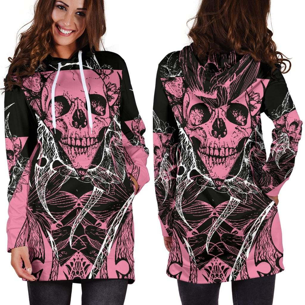 Light Pink Vintage Skull Women's Hoodie Dress - Skull Obsession