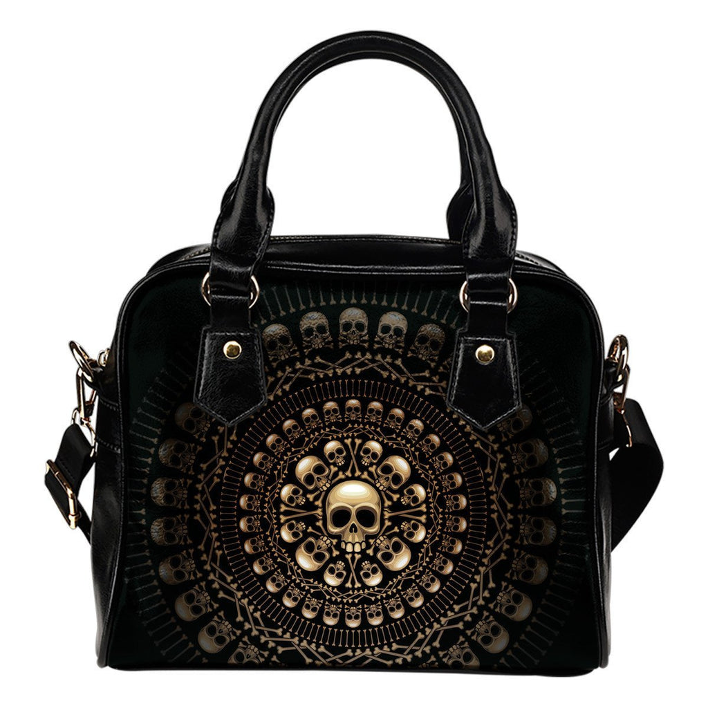 Skull Obsession Light Skull &Bones Shoulder Handbag
