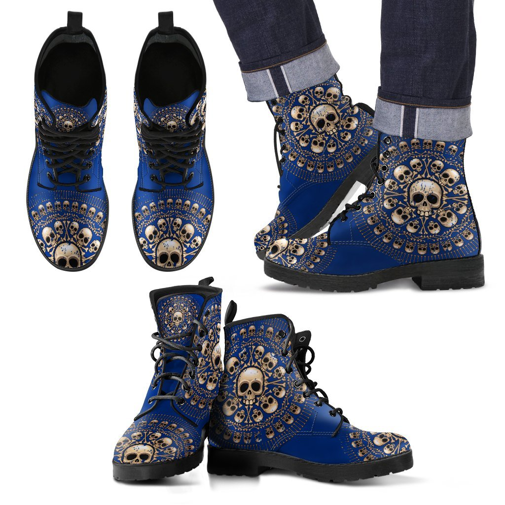 Skull Obsession Men's Leather Boots - Black - Blue / US5 (EU38) Men's Colored Skulls & Bones Boots