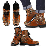 Skull Obsession Men's Leather Boots - Black - Brown / US5 (EU38) Men's Colored Skulls & Bones Boots