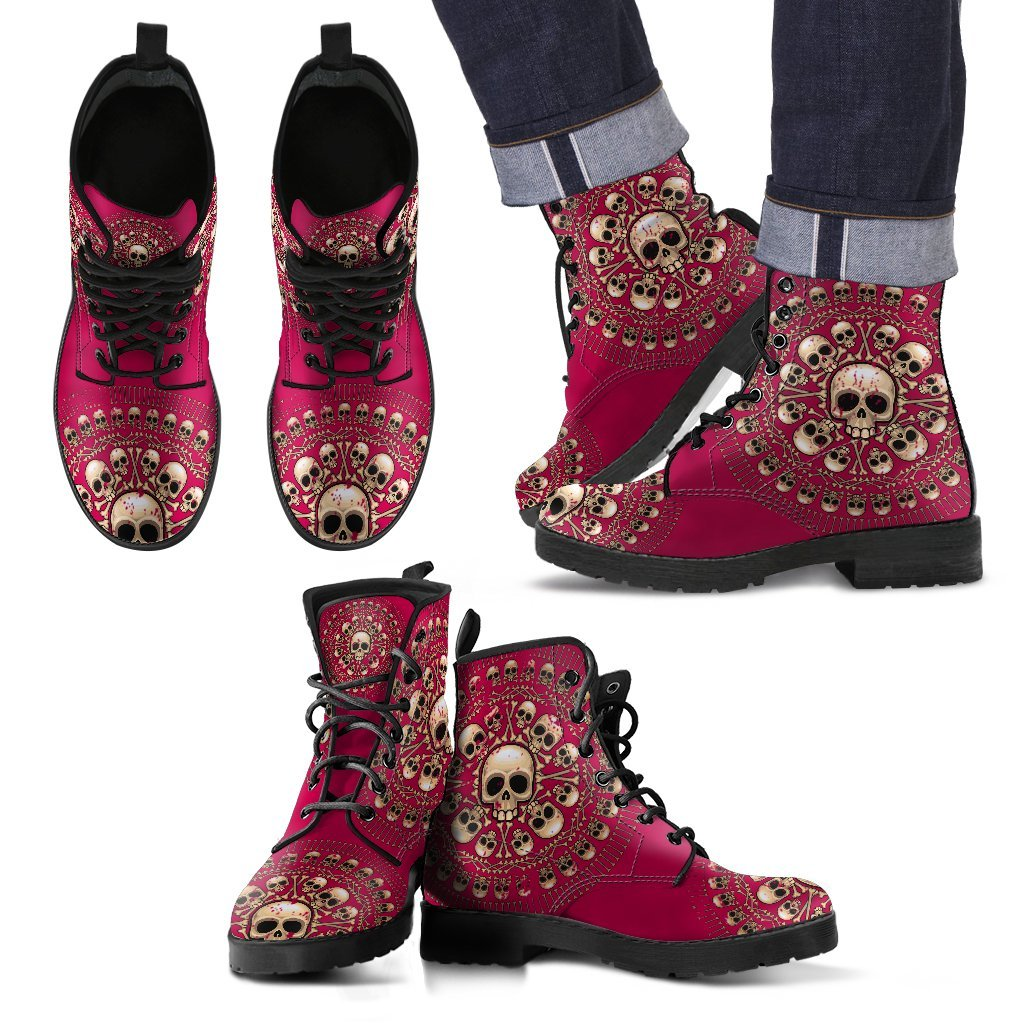 Skull Obsession Men's Leather Boots - Black - Dark Pink / US5 (EU38) Men's Colored Skulls & Bones Boots