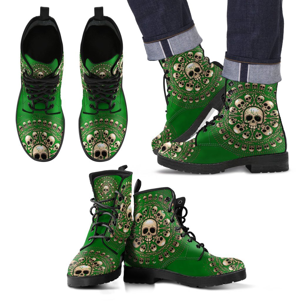 Skull Obsession Men's Leather Boots - Black - Green / US5 (EU38) Men's Colored Skulls & Bones Boots
