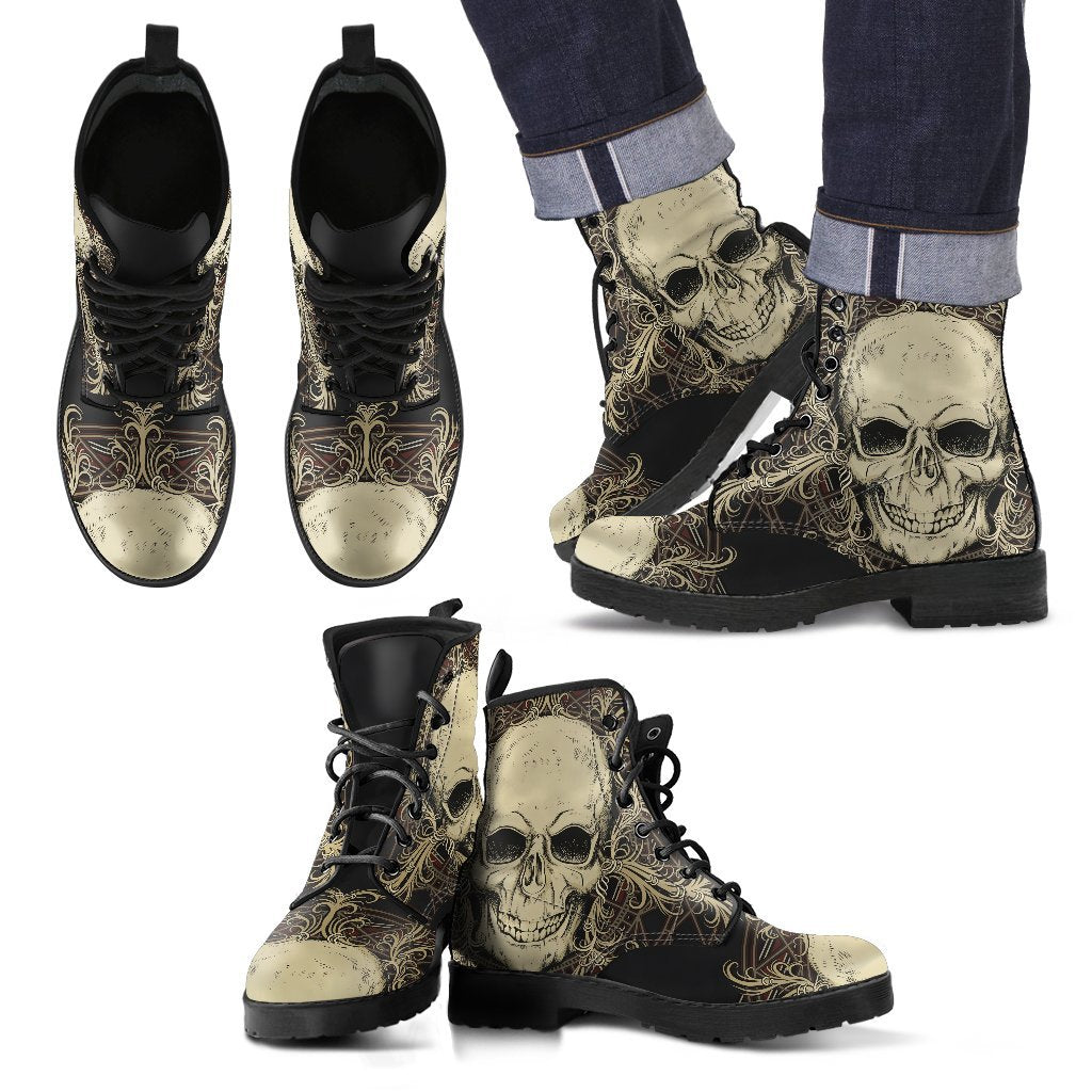Skull Obsession Men's Leather Boots - Black - M / Men US5 (EU38) Skull with Ornamental Composition Boots