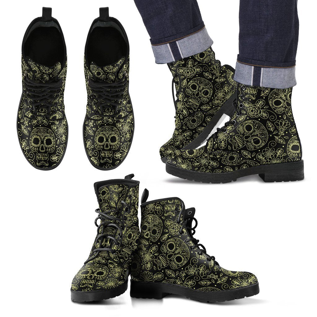 Skull Obsession Men's Leather Boots - Black - M / Men US5 (EU38) Yellow Skulls boots