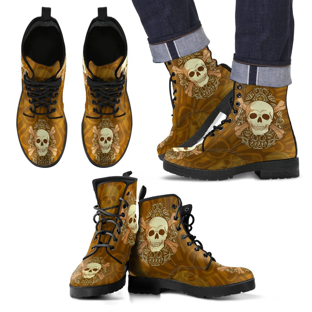Skull Obsession Men's Leather Boots / Men's US5 (EU38) Brown Starred Skull Boots