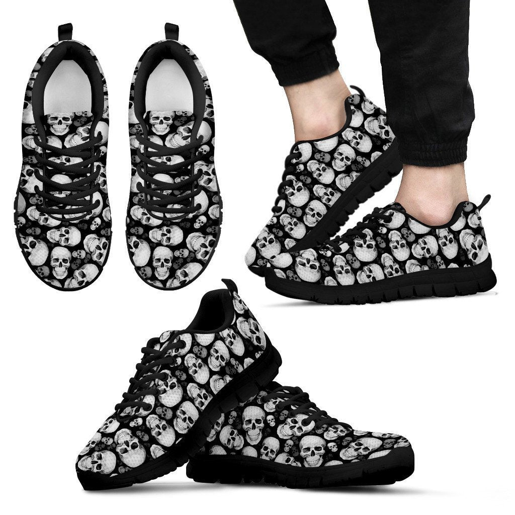 Skull Obsession Men's Sneakers - Black - MB / Men US5 (EU38) WHITE SKULLS Sneakers