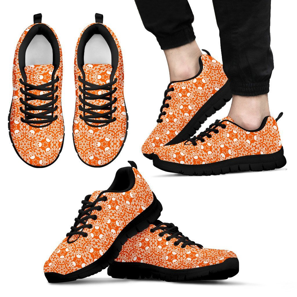 Skull Obsession Men's Sneakers - Black - Orange & Black / US5 (EU38) Colorful SKULL Men's Sneakers