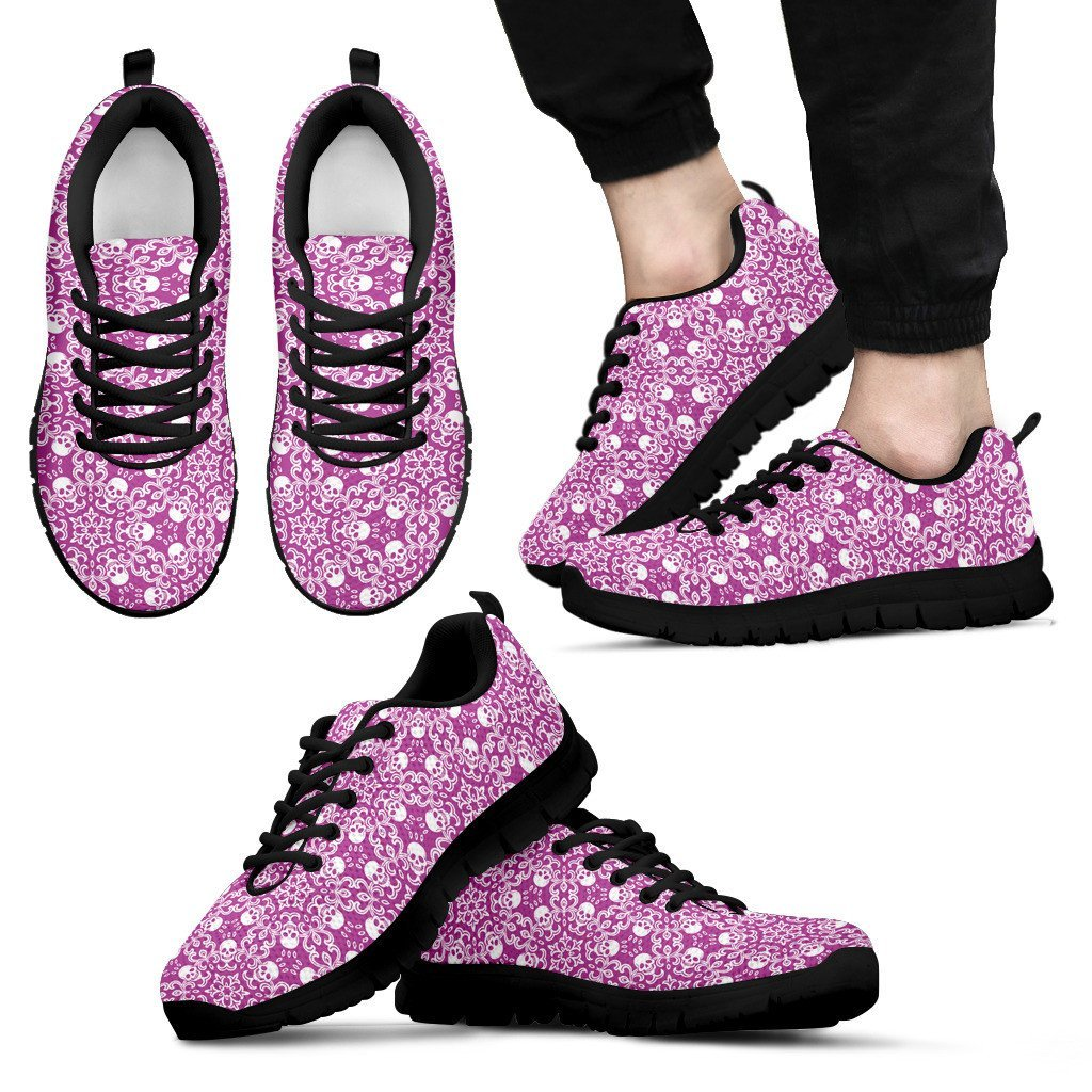 Skull Obsession Men's Sneakers - Black - Purple & Black / US5 (EU38) Colorful SKULL Men's Sneakers