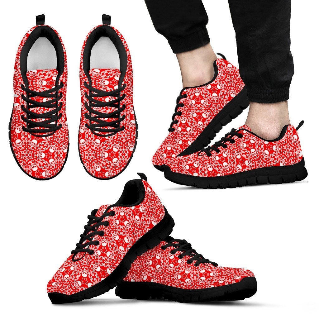 Skull Obsession Men's Sneakers - Black - Red & Black / US5 (EU38) Colorful SKULL Men's Sneakers