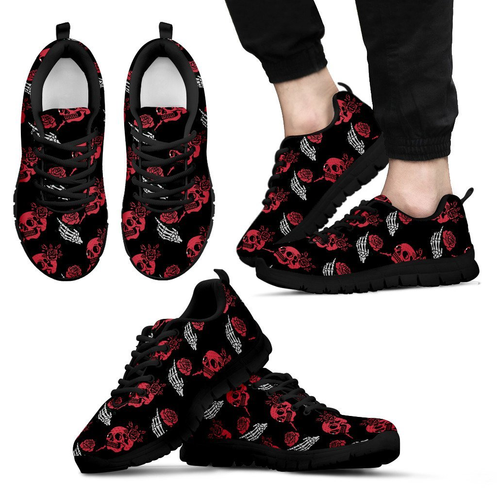 Skull Obsession Men's Sneakers - Black - red & white / US5 (EU38) SKELETON & ROSES SNEAKERS