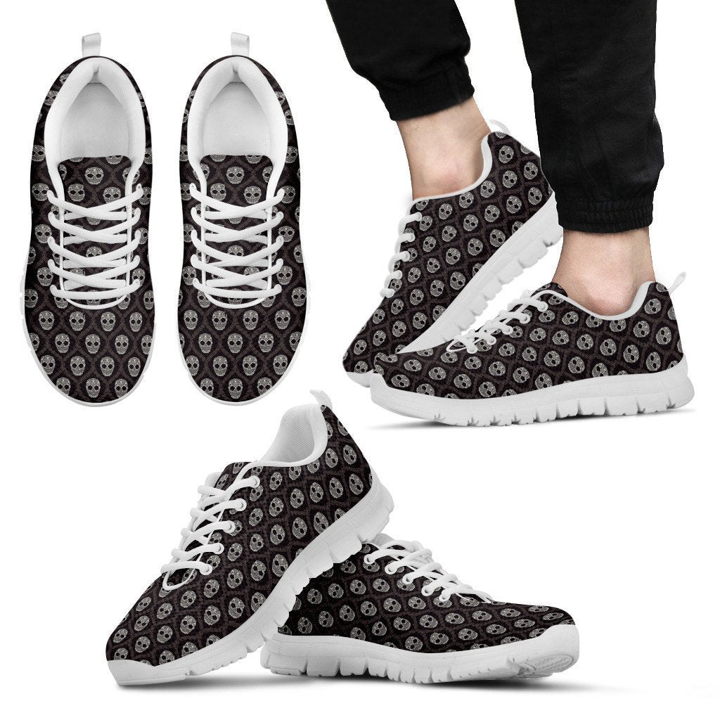 Skull Obsession Men's Sneakers - White - s4 / Men US5 (EU38) Black Skull Sneakers
