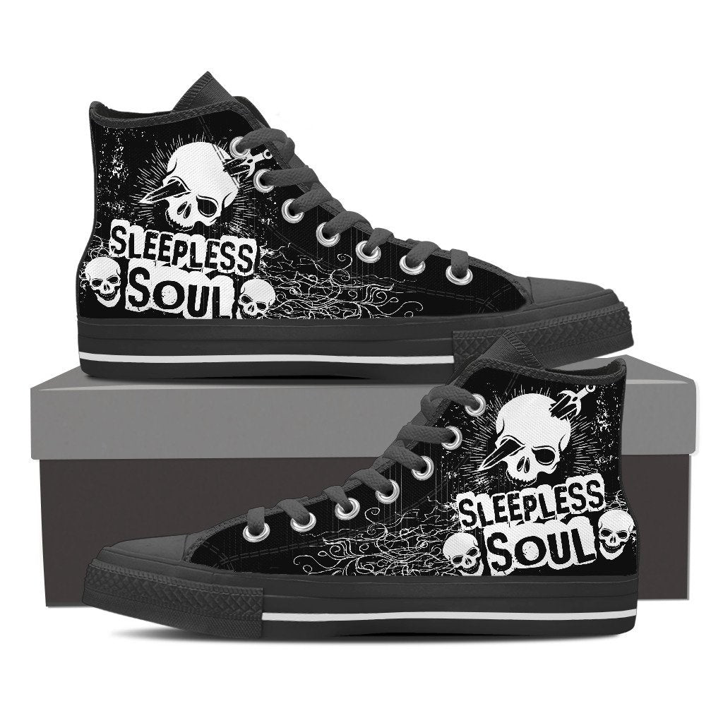 Skull Obsession Mens High Top - Black - BLACK / Men US8 (EU40) SLEEPLESS SOUL High Tops