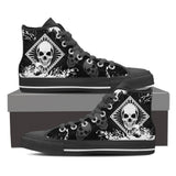 Skull Obsession Mens High Top - Black - Black / US8 (EU40) Skull High Top Canvas Shoe ii