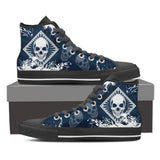 Skull Obsession Mens High Top - Black - Blue / Men US8 (EU40) Skull High Top Canvas Shoe ii