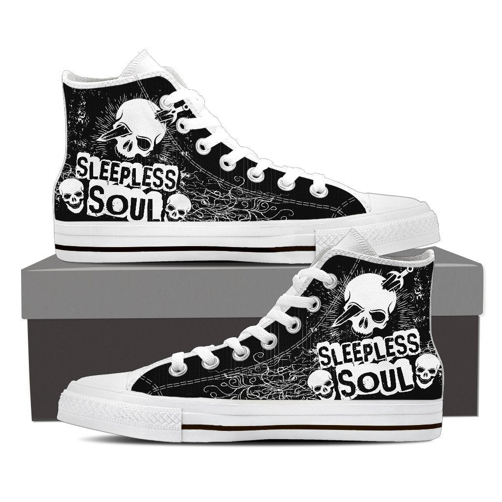Skull Obsession Mens High Top - White - BLACK / Men US8 (EU40) SLEEPLESS SOUL High Tops