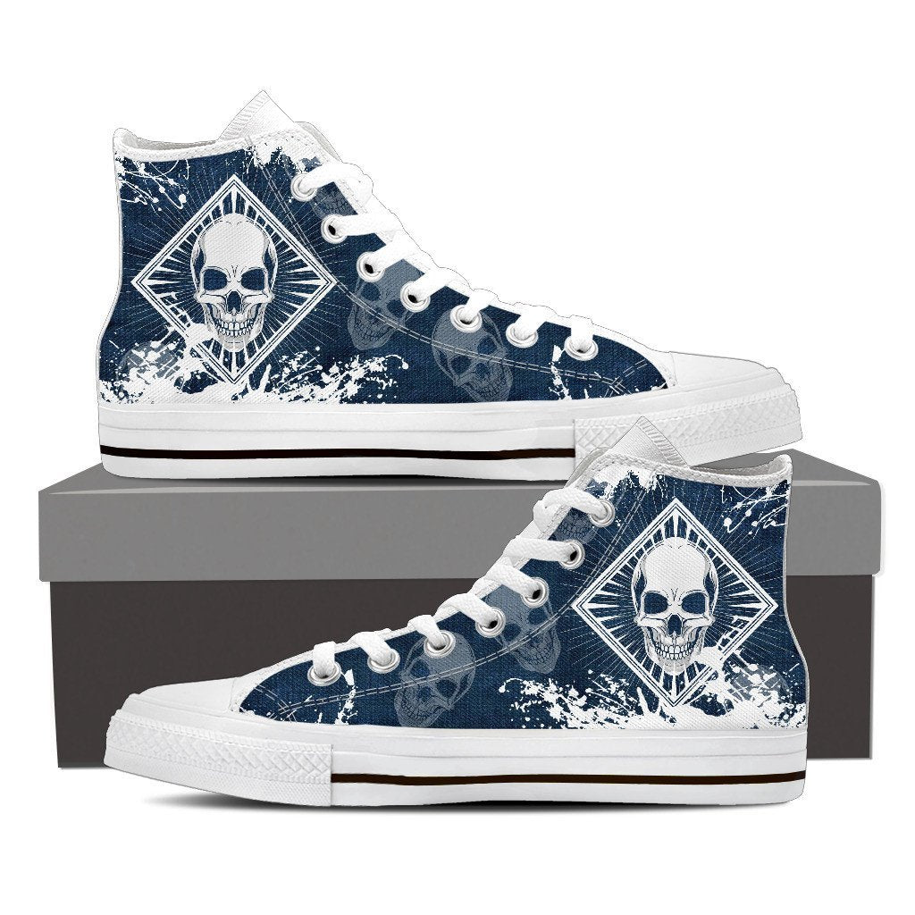 Skull Obsession Mens High Top - White - Blue / Men US8 (EU40) Skull High Top Canvas Shoe ii