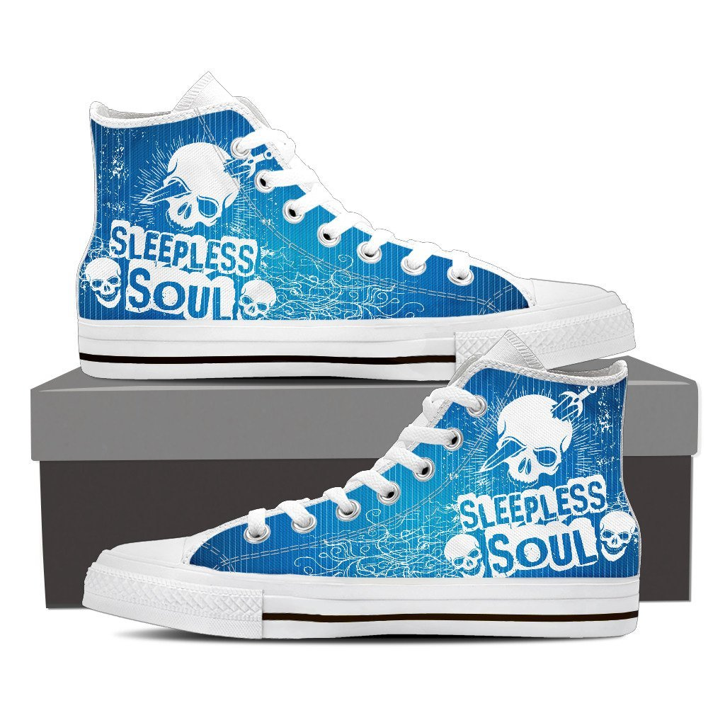 Skull Obsession Mens High Top - White - BLUE / Men US8 (EU40) SLEEPLESS SOUL High Tops