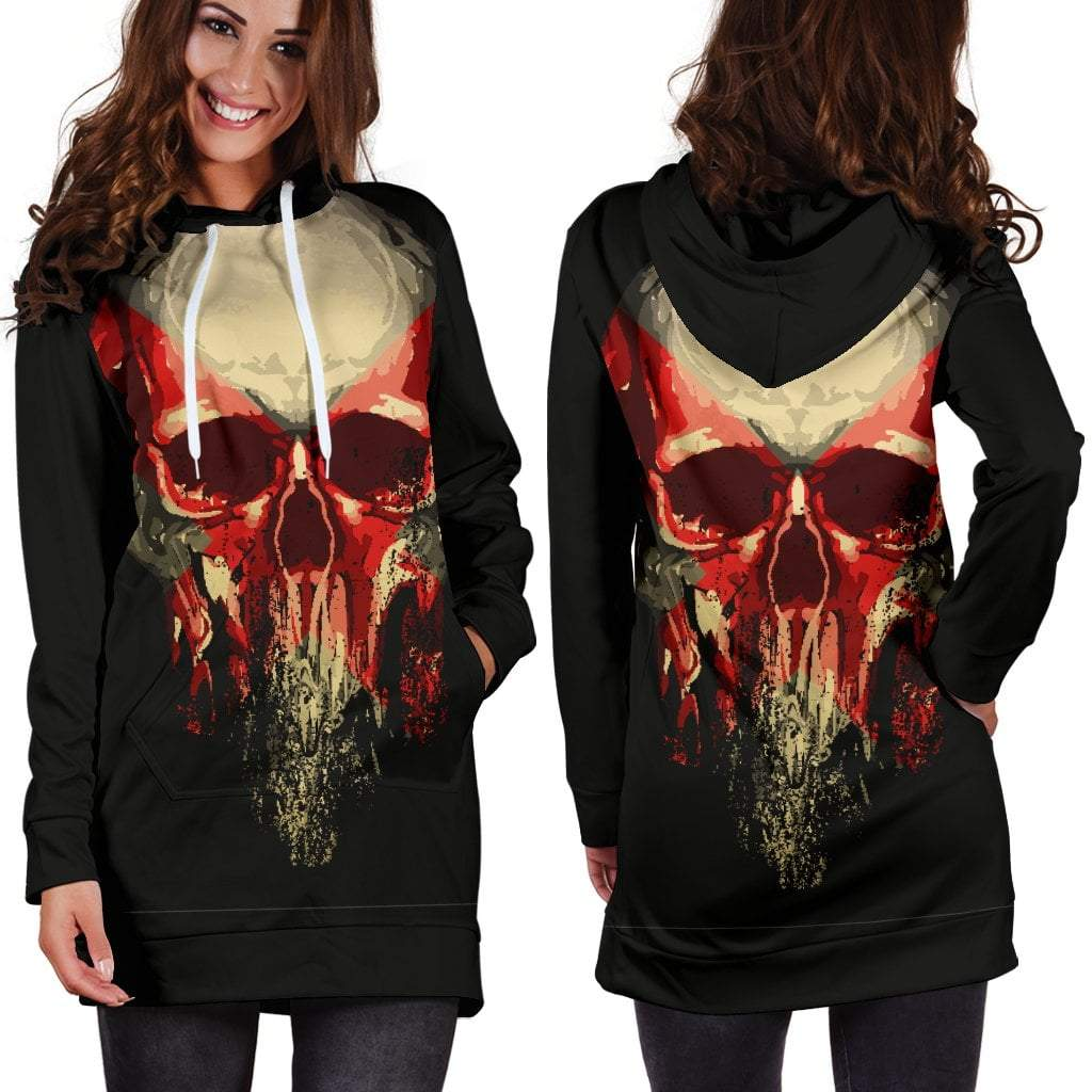 Skull Obsession Punk Skull Hoodie Dress