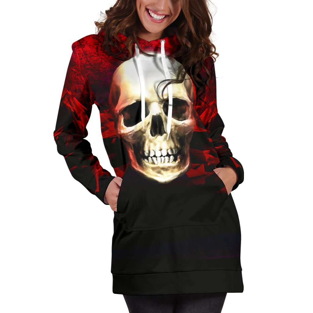 Skull Obsession .Red Angry Skull Hoodie Dress