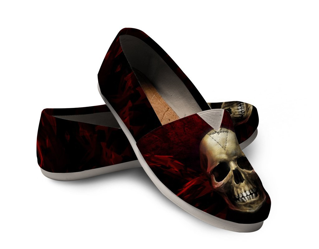 Red angry Skull Women's Casual Shoes - Skull Obsession