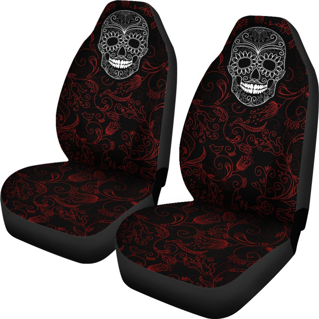 Skull Obsession Red & Black Skull Car Seat Covers