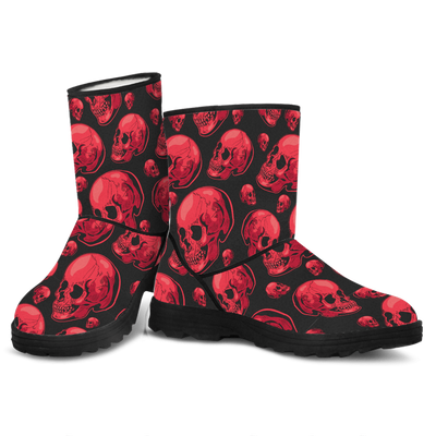 Skull Obsession Red Skull Faux Fur Boots