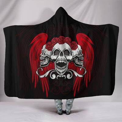 Skull Obsession Red Wings Triple Skull Hooded Blanket