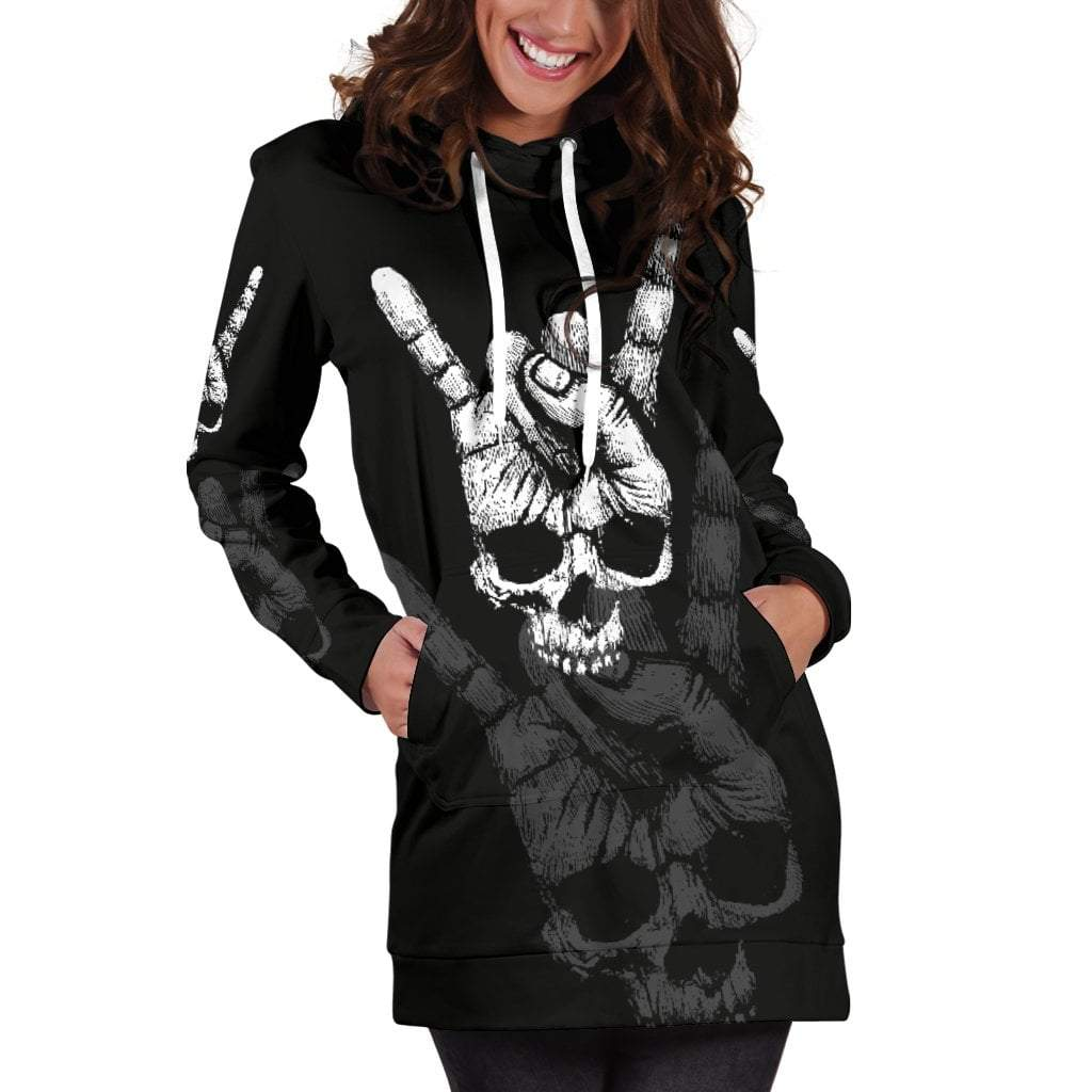 Skull Obsession Rock Hand Skull Hoodie Dress