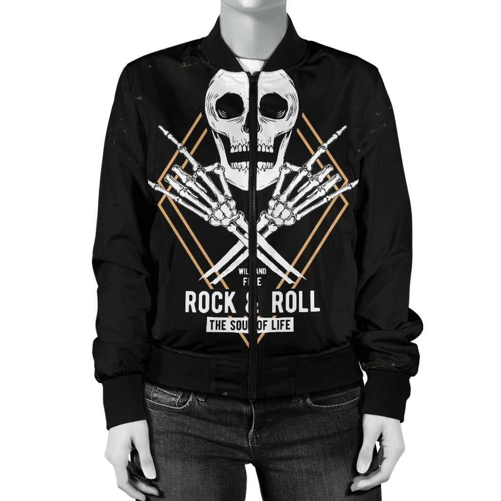 Skull Obsession Rock & Roll Skull Bomber Jacket