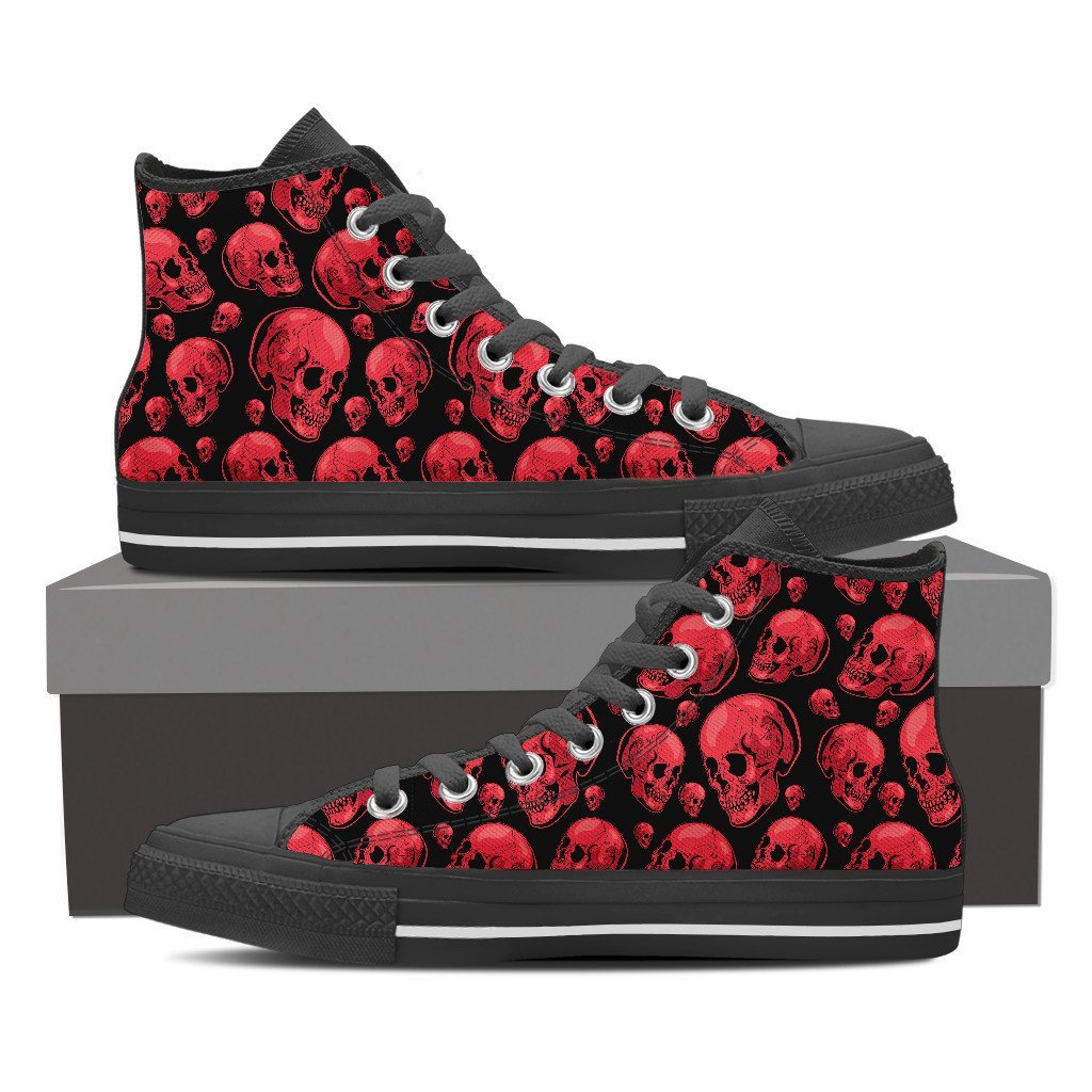 Skull Obsession Shoes Mens High Top - Black - 101 / Men US8 (EU40) Red Skull High Tops